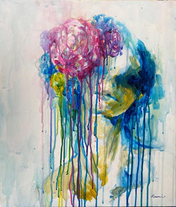 青とピンクの花